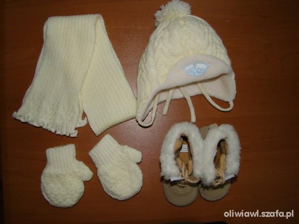 komplecik czapka szalik rekawiczki buciki 03 mies