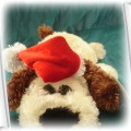 Świąteczny piesek z czapeczką Mikołaja