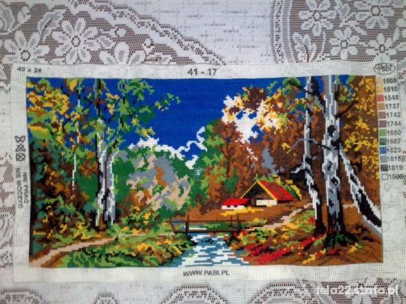 KRAJOBRAZ JESIENIĄ HAFT krzyżykowy 45 x 24 cm