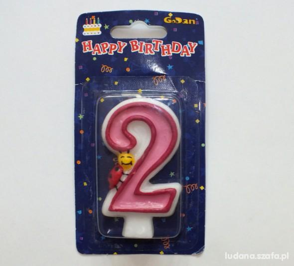 Świeczka urodziny prezent cyferka 2 lata