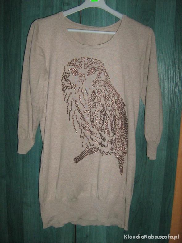Sweter bluzka tunika ciążowa z sową L XL XXL
