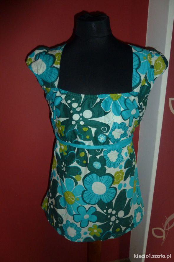 ciążowa bluzka w kwiaty turkus xs