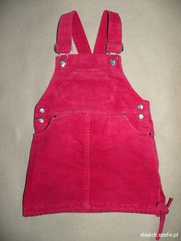 czerwona sztruksowa ogrodniczka 98 PIĘKNA w Sukienki i
