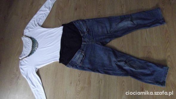 spodnie ciążowe i body białe