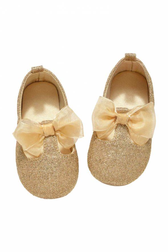 Złote brokatowe balerinki hm rozmiar 18 19