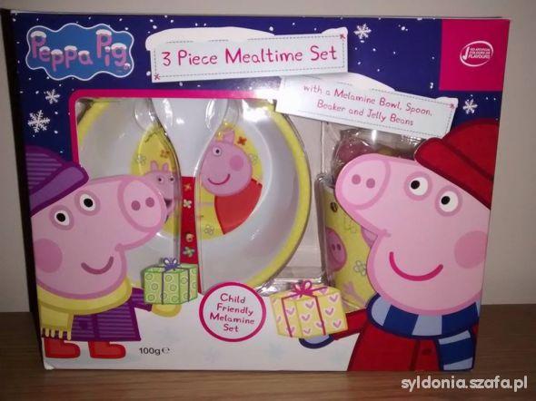 Nowa Peppa Pig Zestaw Melamina MiskaKubekŁyżka