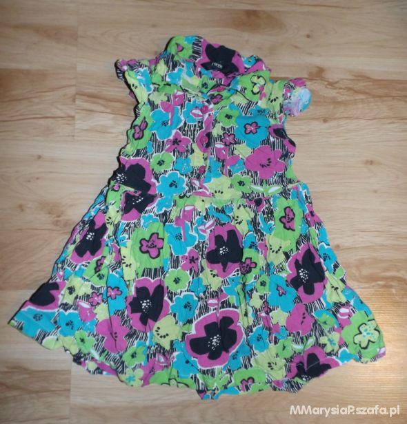 Kolorowa sukienka w kwiaty 98 do 104 cm