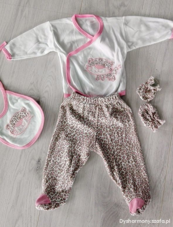 Komplet ubranko dziecięce niemowlęce panterka 62