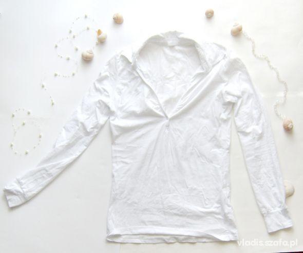 rozmiar L biały Tshirt z dekoltem