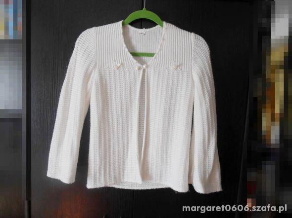 Biały komunijny Sweter 140 Kardigan elegancki