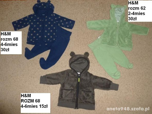 62 68 H&M polar dres polarowy miś spodnie komplety