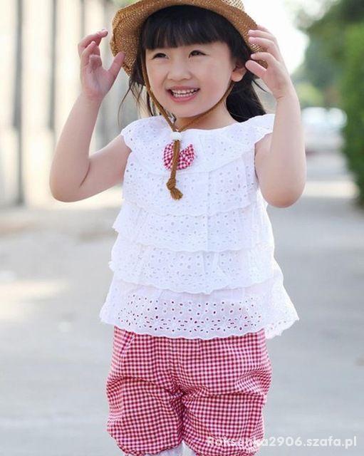 Komplet dla dziewczynki spodenki koszulka koronka