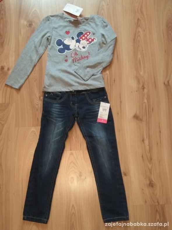 Komplet dziewczęcy bluzka z Myszką Minni i jeansy