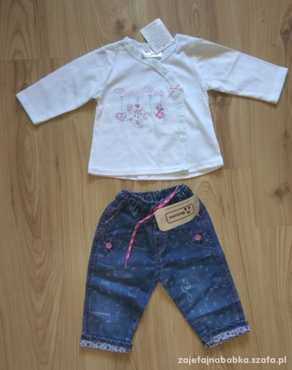 Biały kaftanik bluzeczka i spodnie jeansowe 68