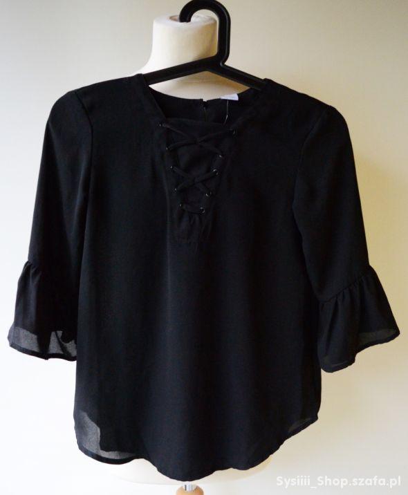 Bluzka Czarna Sznurki 146 cm 10 11 lat Lindex