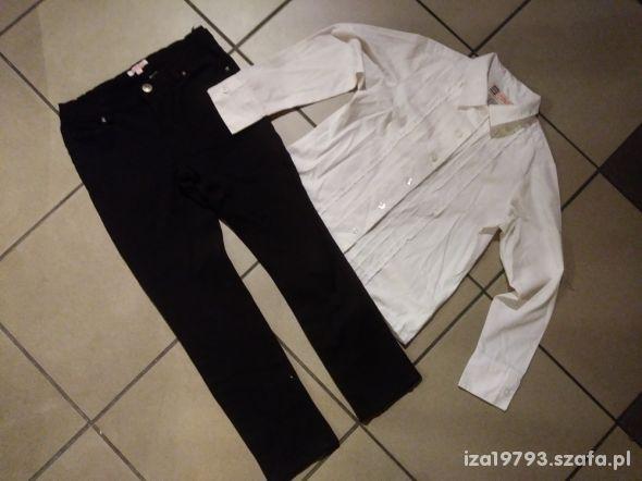 komplet 122 czarne spodnie biała koszula