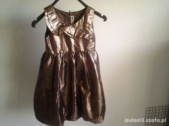 Elegancka sukienka dziewczęca w kolorze złotym H&M