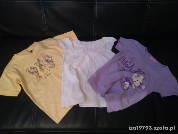 zestaw koszulek 116 biała żółta fioletowa