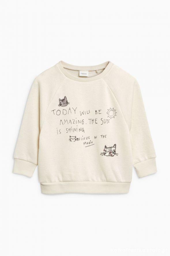 Next 74 nowa kremowa bluza w kotki