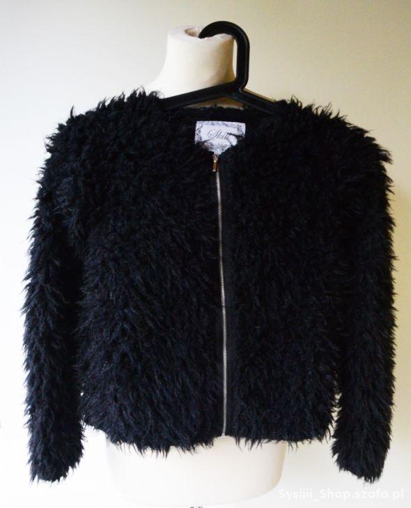 Bluza Czarna Włochata Kurtka 146 152 cm 11 12 lat