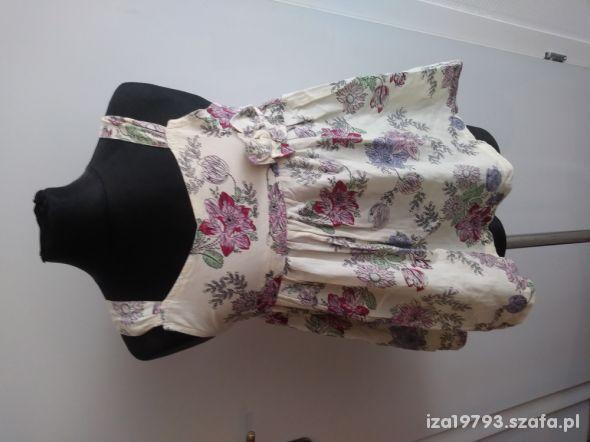 NOWA Bluzka tunika 116 122 w kwiaty biała