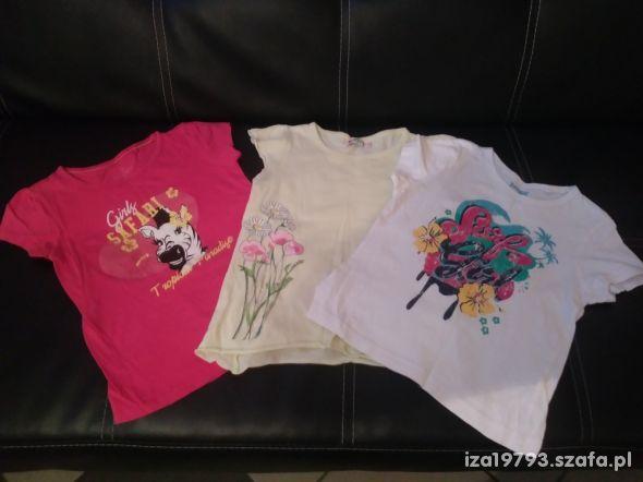 zestaw 110 116 bluzka koszulka różowa zielona