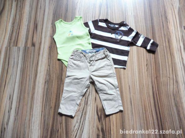R 68 spodnie bluzka H&M body komplet