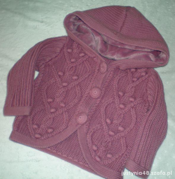 cudny lawendowy jesienny sweterek z kapturem