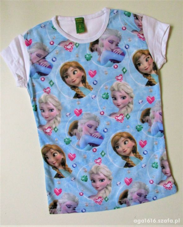 Nowa Bluzka Frozen Anna Elsa diamenty 134 140