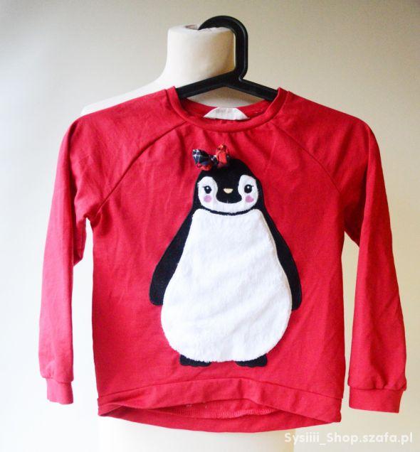 Bluza Czerwona Pingwin H&M 122 128 cm 6 8 lat Świę