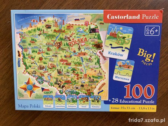 jak nowe Puzzle Mapa Polski 100 i 28 Castorland