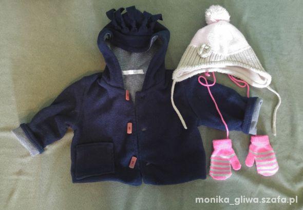 Kurtka czapka i rękawiczki dla dziewczynki