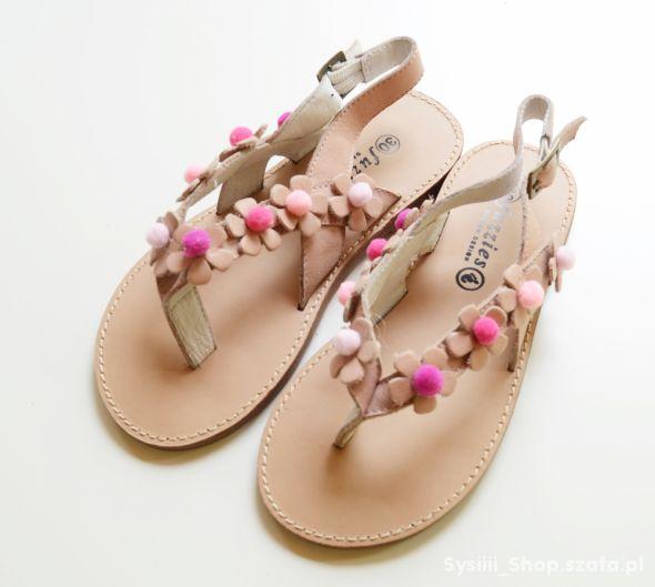 Sandały NOWE Japonki 30 Pompon 19 cm Boho Skóra