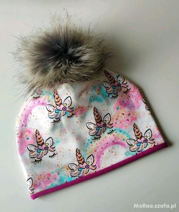 Unicorn lashes czapka dresowa pompon jednorożec