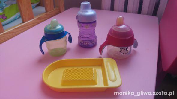 Kubki niekapki talerzyk i sztućce dla niemowląt