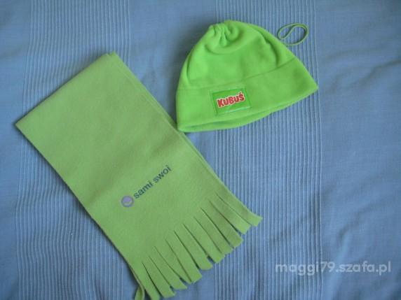 czapka i szalik zielony nieuzywany polarowy