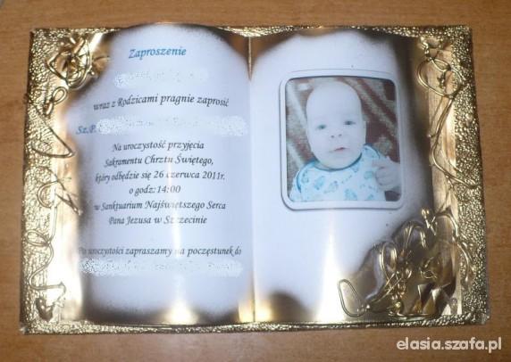 podziękowanie pamiątka zaproszenie chrzest urodzin