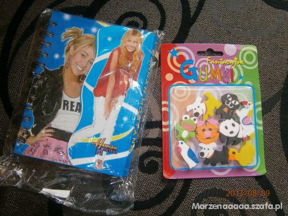 Hannah Montana notesik izestaw gumek do scierania