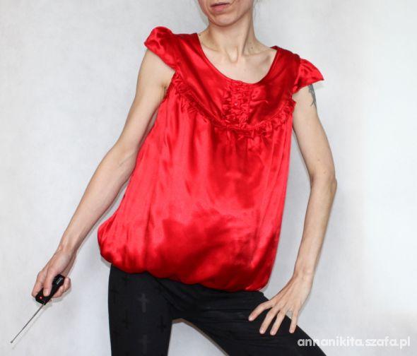 elegancka czerwona satynowa bluzka Rozm M 38