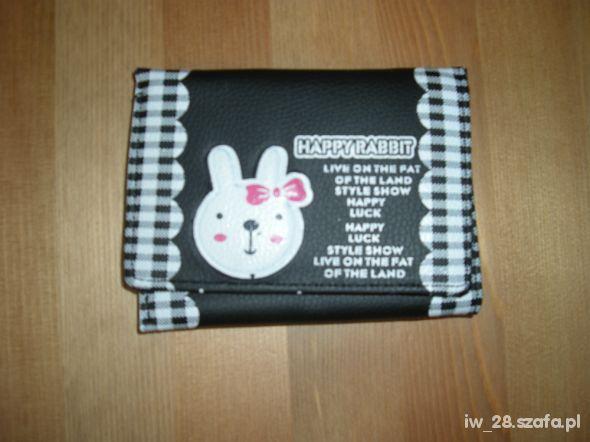 Portfel dziewczęcy czarny Happy Rabbit
