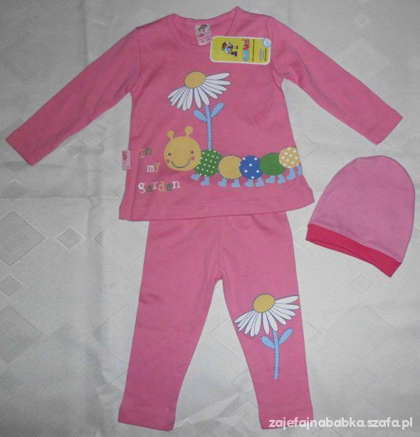 Nowy różowy komplet dresik z czapką dla dziewczynk