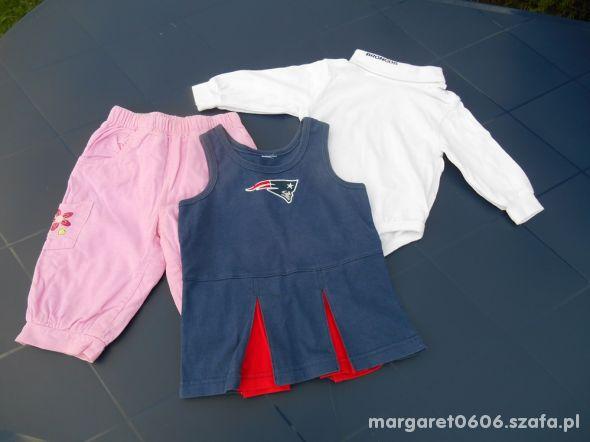 Zestaw 74 Sukienka i body golf i różowe Spodnie