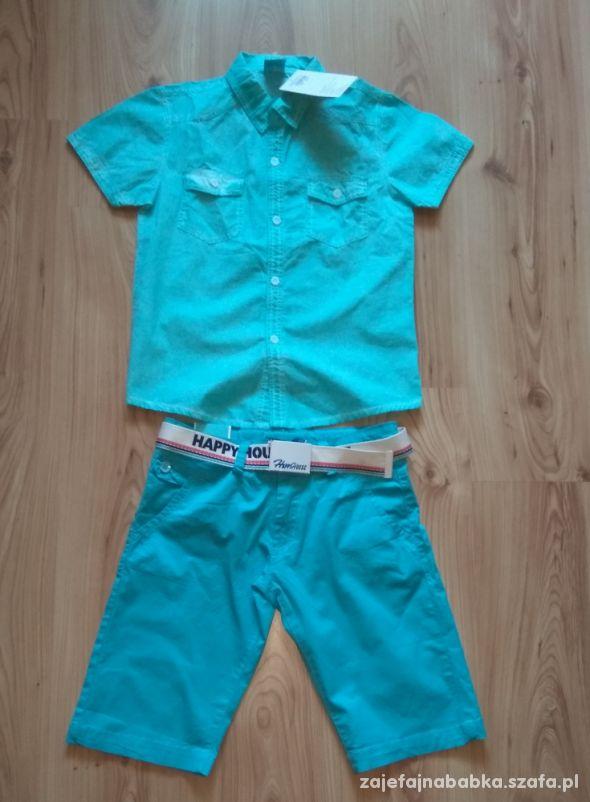 Nowy komplet chłopięcy koszula krótkie spodnki 140