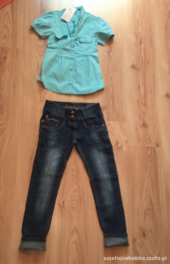 Nowy komplet dziewczęcy koszula i jeansy 134