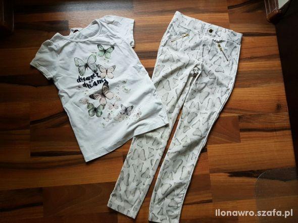 Spodnie bluzka H&M 128 motyle bluzka motyl