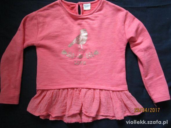 Zara bluza z falbanką i złotym ptaszkiem