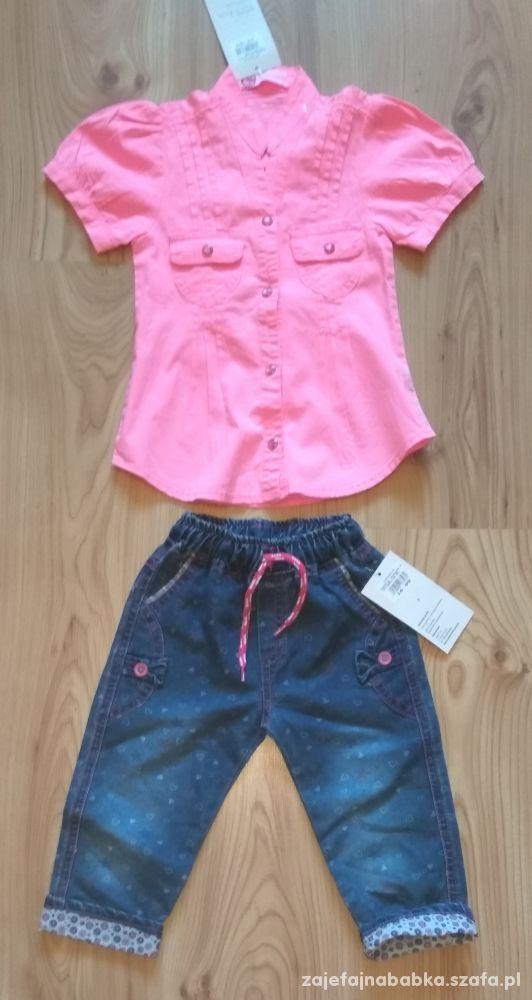 Nowy komplet różowa koszula i spodnnie cienkie jea