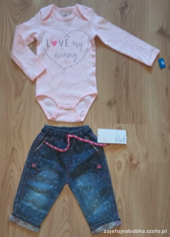 Nowe rózowe body z długim rękawem i jeansy 80