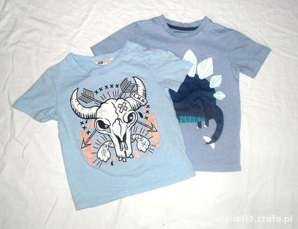 TU H&M 2 koszulki z nadrukiem r 110 2 4 lata