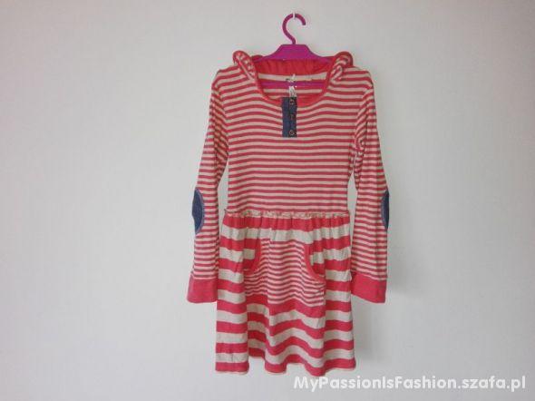 NEXT Sukienka dresowa łaty kaptur 128